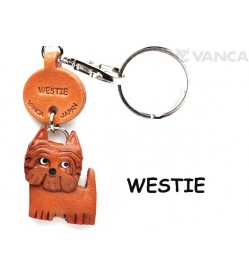 Westie Leather Dog Keychain