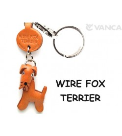 Wire Fox Terrier Leather Dog Keychain