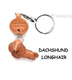 Dachshund Longhair Leather Dog Keychain