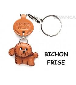 Bichon Frise Leather Dog Keychain