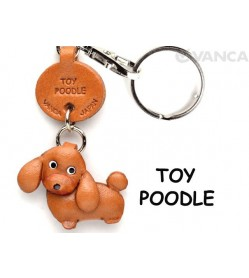 Toy Poodle Leather Dog Keychain