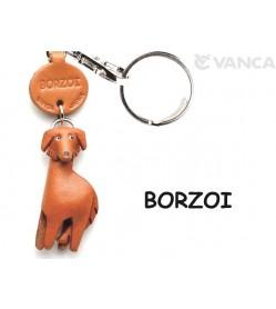 Borzoi Leather Dog Keychain
