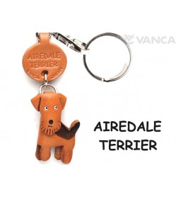 Airedale Terrier Leather Dog Keychain