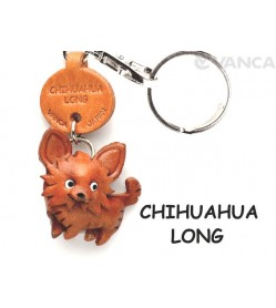 Chihuahua Long Haird Leather Dog Keychain