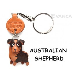 Australian Shepherd Leather Dog Keychain
