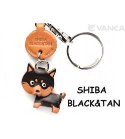 Shiba Dog Black&Tan Leather Dog Keychain