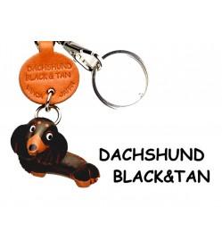 Dachshund Long B&T Leather Dog Keychain