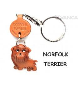 Norfolk Terrier Leather Dog Keychain