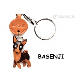 Basenji Leather Dog Keychain