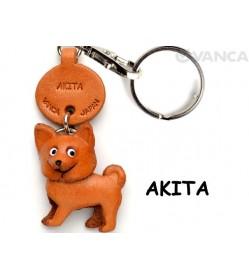 Akita Leather Dog Keychain