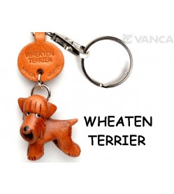 Wheaten Terrier Leather Dog Keychain