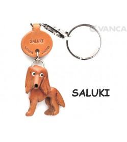 Saluki Leather Dog Keychain