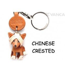 Chinese Crested Leather Dog Keychain