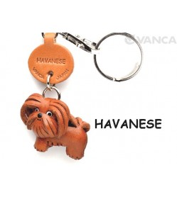 Havanese Leather Dog Keychain
