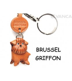 Brussels Griffon Leather Dog Keychain
