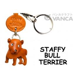 Staffordshire Bullterrier Leather Dog Keychain