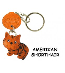 American Shorthair Leather Keychain Cat