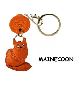 Maine Coon Leather Keychain Cat