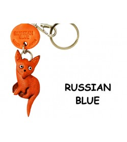 Russian Blue Leather Keychain Cat