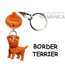Border Terrier Leather Dog Keychain