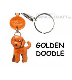 Goldendoodle Leather Dog Keychain
