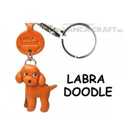 Labradoodle Leather Dog Keychain