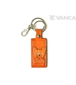 Chihuahua Leather Name Plate Holder Keychain