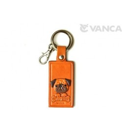 Pug Leather Name Plate Holder Keychain