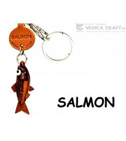 Salmon Japanese Leather Keychains Fish