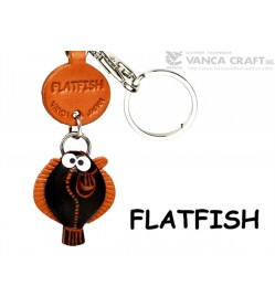 Flatfish Japanese Leather Keychains Fish