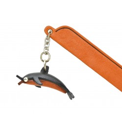 Dolphin Leather Charm Bookmarker