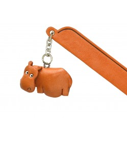 Hippopotamus Leather Charm Bookmarker