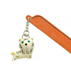 White Tiger Leather Charm Bookmarker