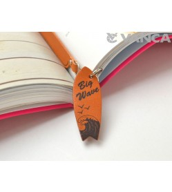 Surfboard Leather Charm Bookmarker