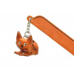 Sitting Cat Plain Leather Charm Bookmarker