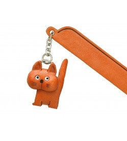 Walking Cat Plain Leather Charm Bookmarker