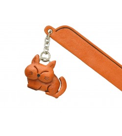 Sleeping Cat Plain Leather Charm Bookmarker