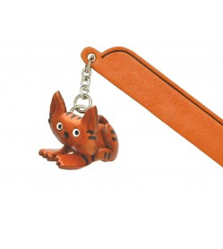 Sitting Cat Tabby Leather Charm Bookmarker