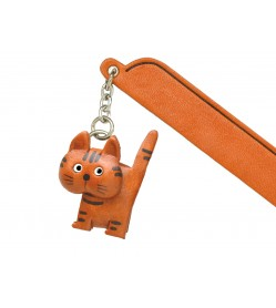 Walking Cat Tabby Leather Charm Bookmarker