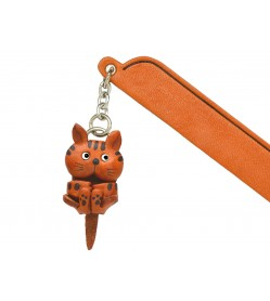 Playing Cat Tabby Leather Charm Bookmarker