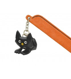 Sitting Cat Black Leather Charm Bookmarker