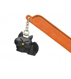 Sleeping Cat Black Leather Charm Bookmarker