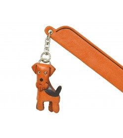 Airdale terrier Leather dog Charm Bookmarker