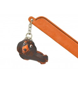 Dachshund long Black&Tan Leather dog Charm Bookmarker