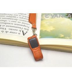 Cellular phone Leather Charm Bookmarker