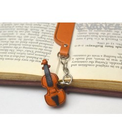 Violin Leather Charm Bookmarker