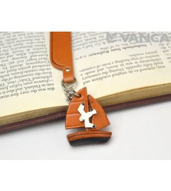 Sailboat Leather Charm Bookmarker