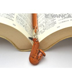 Saxophone Leather Charm Bookmarker