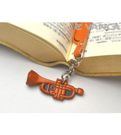 Trumpet Leather Charm Bookmarker