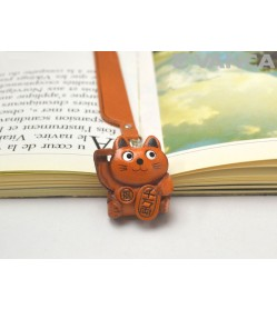 Lucky cat Leather Charm Bookmarker